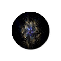 Fractal Blue Abstract Fractal Art Rubber Round Coaster (4 pack)