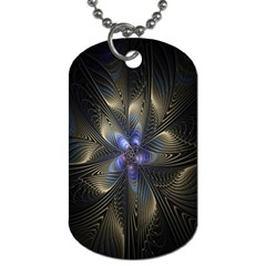 Fractal Blue Abstract Fractal Art Dog Tag (Two Sides)