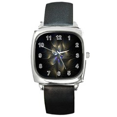 Fractal Blue Abstract Fractal Art Square Metal Watch