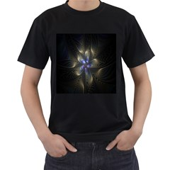 Fractal Blue Abstract Fractal Art Men s T Shirt (black) (two Sided)