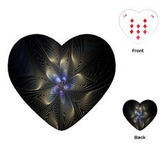 Fractal Blue Abstract Fractal Art Playing Cards (Heart)