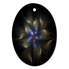 Fractal Blue Abstract Fractal Art Oval Ornament (Two Sides)