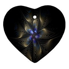 Fractal Blue Abstract Fractal Art Heart Ornament (Two Sides)