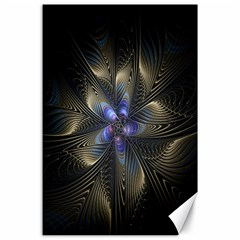 Fractal Blue Abstract Fractal Art Canvas 24  x 36