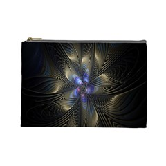 Fractal Blue Abstract Fractal Art Cosmetic Bag (large)