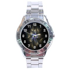 Fractal Blue Abstract Fractal Art Stainless Steel Analogue Watch