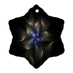 Fractal Blue Abstract Fractal Art Ornament (Snowflake)