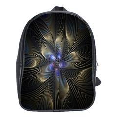 Fractal Blue Abstract Fractal Art School Bags (XL)