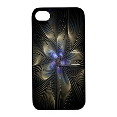 Fractal Blue Abstract Fractal Art Apple iPhone 4/4S Hardshell Case with Stand