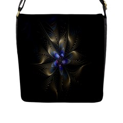 Fractal Blue Abstract Fractal Art Flap Messenger Bag (L)