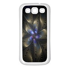 Fractal Blue Abstract Fractal Art Samsung Galaxy S3 Back Case (white)