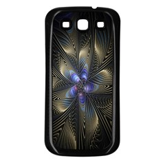 Fractal Blue Abstract Fractal Art Samsung Galaxy S3 Back Case (black)