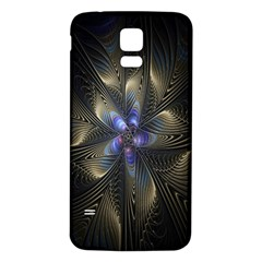 Fractal Blue Abstract Fractal Art Samsung Galaxy S5 Back Case (White)