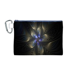 Fractal Blue Abstract Fractal Art Canvas Cosmetic Bag (M)