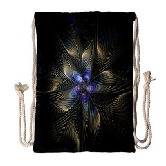 Fractal Blue Abstract Fractal Art Drawstring Bag (Large)
