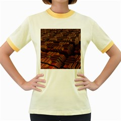 Fractal 3d Render Futuristic Women s Fitted Ringer T-Shirts