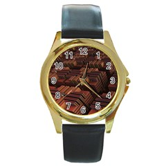Fractal 3d Render Futuristic Round Gold Metal Watch