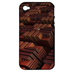 Fractal 3d Render Futuristic Apple iPhone 4/4S Hardshell Case (PC+Silicone)