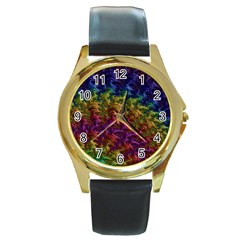 Fractal Art Design Colorful Round Gold Metal Watch