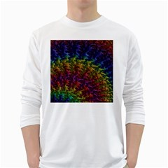 Fractal Art Design Colorful White Long Sleeve T-Shirts