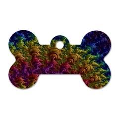 Fractal Art Design Colorful Dog Tag Bone (one Side)