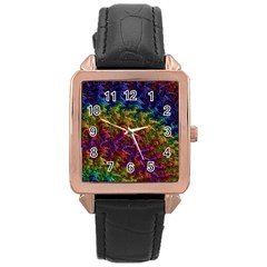 Fractal Art Design Colorful Rose Gold Leather Watch
