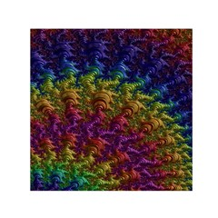 Fractal Art Design Colorful Small Satin Scarf (square)
