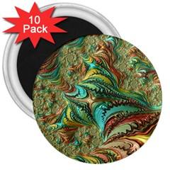 Fractal Artwork Pattern Digital 3  Magnets (10 pack)