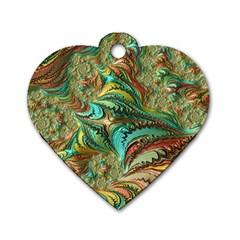Fractal Artwork Pattern Digital Dog Tag Heart (one Side)