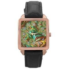 Fractal Artwork Pattern Digital Rose Gold Leather Watch