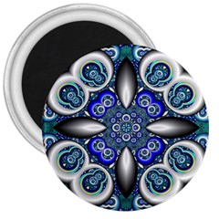 Fractal Cathedral Pattern Mosaic 3  Magnets
