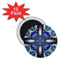 Fractal Cathedral Pattern Mosaic 1.75  Magnets (10 pack)