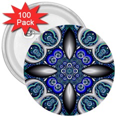 Fractal Cathedral Pattern Mosaic 3  Buttons (100 Pack)