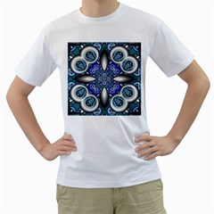 Fractal Cathedral Pattern Mosaic Men s T-Shirt (White) (Two Sided)