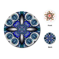 Fractal Cathedral Pattern Mosaic Playing Cards (Round)