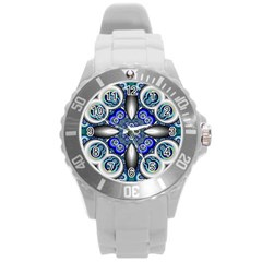Fractal Cathedral Pattern Mosaic Round Plastic Sport Watch (l)