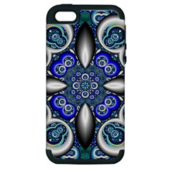Fractal Cathedral Pattern Mosaic Apple iPhone 5 Hardshell Case (PC+Silicone)