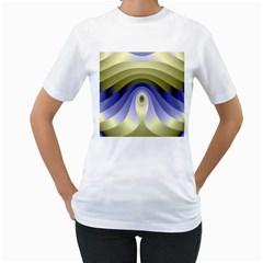 Fractal Eye Fantasy Digital Women s T-Shirt (White) (Two Sided)