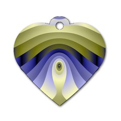 Fractal Eye Fantasy Digital Dog Tag Heart (One Side)
