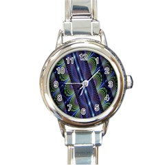 Fractal Blue Lines Colorful Round Italian Charm Watch