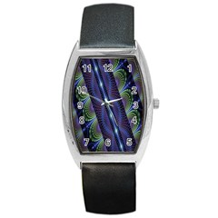 Fractal Blue Lines Colorful Barrel Style Metal Watch