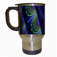 Fractal Blue Lines Colorful Travel Mugs (white)