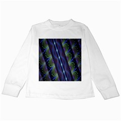Fractal Blue Lines Colorful Kids Long Sleeve T-Shirts