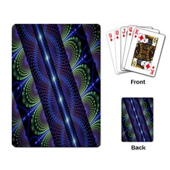 Fractal Blue Lines Colorful Playing Card