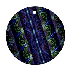 Fractal Blue Lines Colorful Round Ornament (Two Sides)
