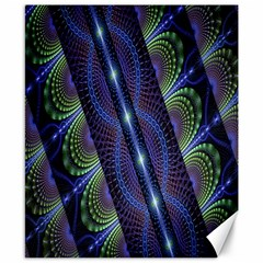 Fractal Blue Lines Colorful Canvas 8  x 10