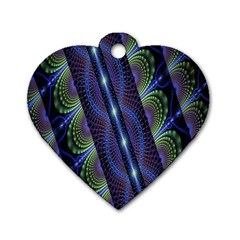 Fractal Blue Lines Colorful Dog Tag Heart (Two Sides)