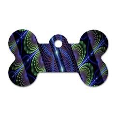 Fractal Blue Lines Colorful Dog Tag Bone (one Side)