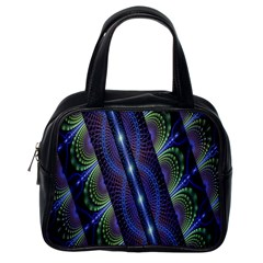 Fractal Blue Lines Colorful Classic Handbags (One Side)