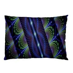 Fractal Blue Lines Colorful Pillow Case